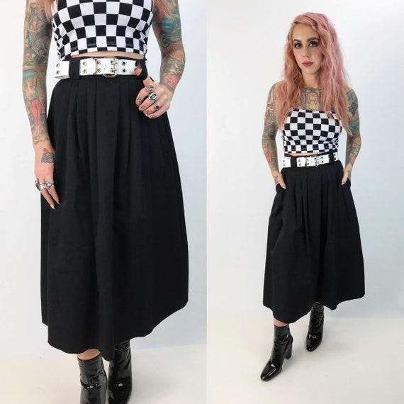 "80's Black High Waist Woven Midi Skirt Small 27"" - Basic Vintage Skirt With Pockets Black Poly/Rayon Midi - Classic Preppy A-line Midi Skirt"