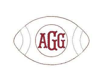 Football Monogram Bean Stitch Applique Embroidery Design 4x4 5x7 6x10 8x8 8x12