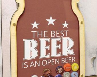 The Best Beer/is and Open Beer/Bottle Cap Holder/Bottle Cap Display/Mason Jar/Beer/Bar Decor/Father's Day/Man Gift/Bottle Cap Collector