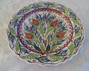 """Platter, Turkish ceramic platter, 12"""" Platter, Iznik, floral design, large plate, green, red and blue, serving plate, wall art, wedding gift"""