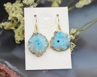Light Blue Quartz Geode Slab Gold Edge Earrings,Natural Druzy Drusy Crystal Gems Freeform Slice Nugget Earring,Handmade Crafts Jewelry