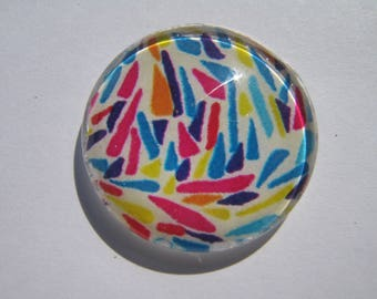 Cabochon 25 mm round domed with multicolored pattern image