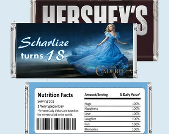 Cinderella Candy Bar Wrapper, Hershey Bar Wrappers PRINTABLE