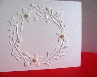 Creamy Ivory Floral Wreath with Faux Pearls Card / Wedding / Bridal Shower / Mother of the Bride / Anniversary / A2 Size / Ready to Ship