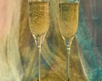 Cut Crystal Champagne Flutes-Custom