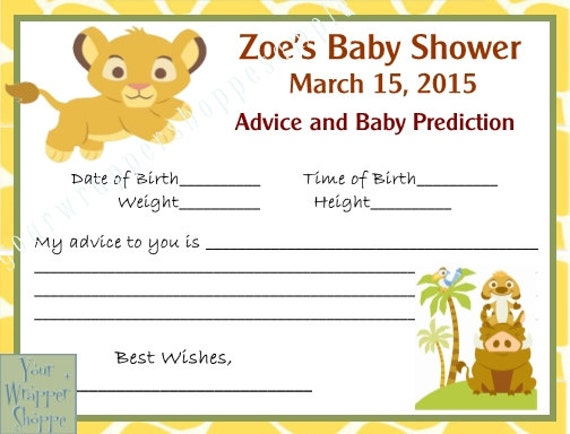 Lion king baby shower prediction advice cards digital file zoom filmwisefo