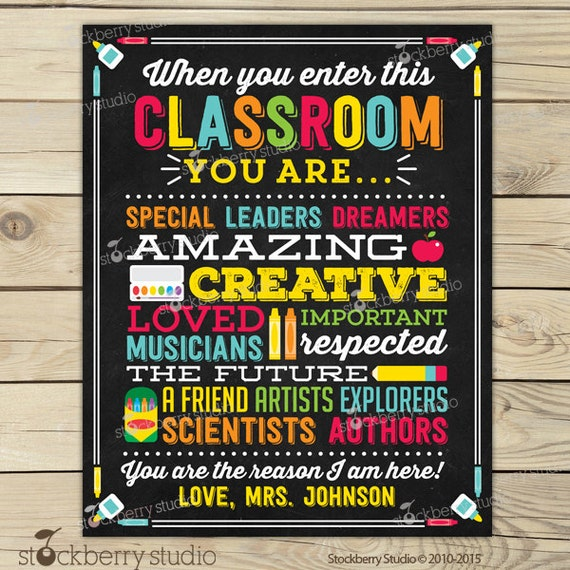 Classroom Decor Posters ~ Teacher classroom decor personalized sign