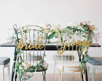 Bride  Groom Chair Signs.Gold Chair Signs.Wedding Chair Signs.