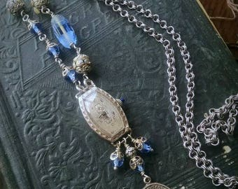 Statement necklace, all vintage, antique watch, Art Deco beads, religious medal, blue glass, silver