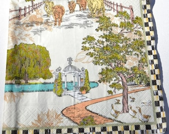 2 Farm Cottage Back Yard Decoupage Paper Napkins / Landscape Design Paper Napkin for Decoupage, Mixed Media, Collage, etc
