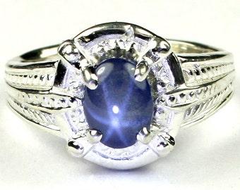 Blue Star Sapphire, Sterling Silver Ring, SR284
