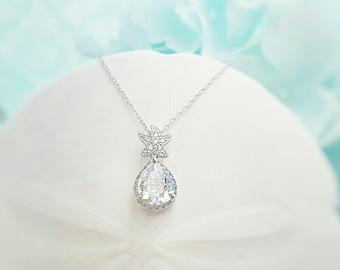 Silver Starfish Necklace Bridesmaid - Beach Wedding Necklace - Star Fish Jewelry - Beach Bridal Jewelry - Crystal Teardrop Necklace N2010