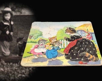 Adorable Vintage Three Little Kittens Children's Jigsaw Puzzle, Circa 1940s, As Found