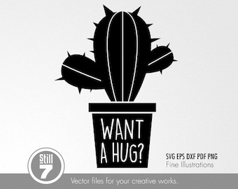 Cactus #3 - Want a hug - svg eps dxf pdf png