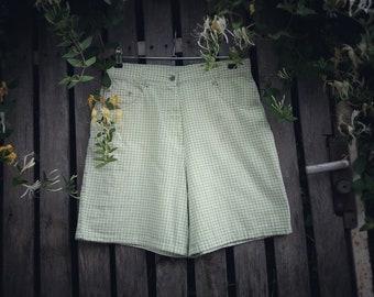 Vintage Shorts Gira Puccino High Waist Checkered Green Women's