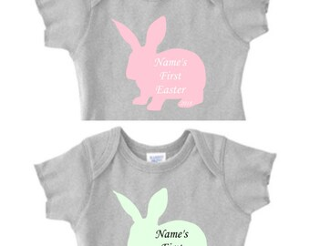 2018 My First Easter Onesie Outfit Custom Personalized Baby Girl or Baby Boy Bunny Baby's First Easter