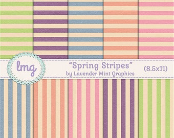 Vintage Striped Digital Scrapbook Papers, Vintage, Rustic Digital Paper, Shabby Chic, Pink, Blue, Green, Orange, Lavender, 8.5x11, CU