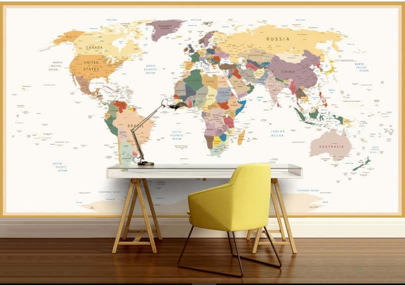 Education world map vinly wall mural kids world map request a custom order and have something made just for you gumiabroncs Choice Image
