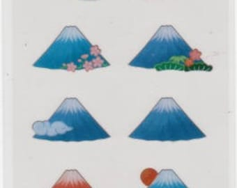 Mt Fuji Stickers - Japanese Stickers - Mountain Stickers - Reference A4832-33