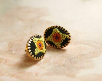 Vintage Embroidered Earrings // Stud Earrings // 1970's Earrings Jewelry // Converted // Hippie Earrings