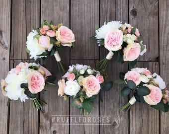 Boho Bouquet, Bridesmaid Bouquet, Wildflower Bouquet, Bouquet, Pink and Ivory Bouquet