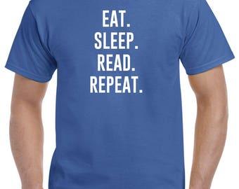 Eat Sleep Read Repeat Reading Shirt Reader Gift