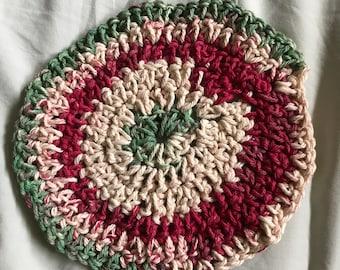 Kitchen trivet, cream, red, green