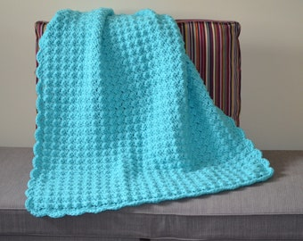 Turquoise Shell Stitch Baby Blanket