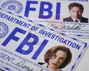 X-Files FBI Badge Wallet Version, Fox Mulder, Dana Scully, Walter Skinner, John Doggett, Cosplay FBI Badge,