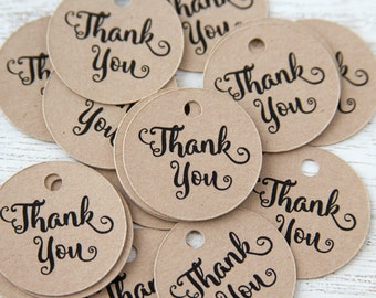 Thank You Tags - 1 Inch Circle - 65 Pieces
