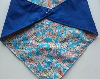 Paisley pooch neckerchief, bandana for dogs, reversible, snap fastening