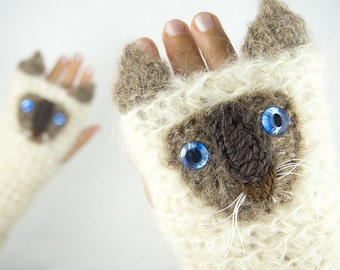 Cat Fingerless Gloves (Siamese) ~ Handmade