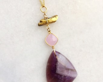 Amethyst + Crystal Necklace | drop stone necklace | long necklace | boho necklace | amethyst jewelry | purple stone