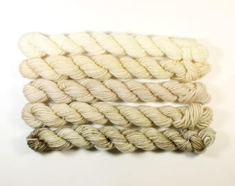 neutral #2  .. 8 ply set hand dyed wool yarn, mini skein, soft, knitting weaving yarn, hand dyed sock yarn, dk yarn