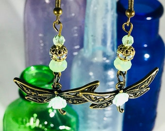 Dragonfly with Green Swarovski Crystals Earrings