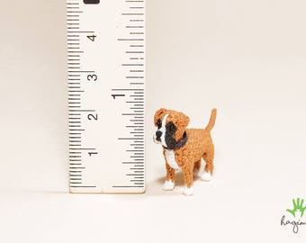 Mini Fawn Boxer crochet, Tiny Boxer, micro boxer crochet, amigurumi tiny dog