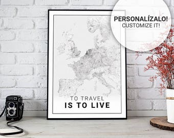 Poster map of Europe 40 and 50. Custom text. Ideal sheet for decoration or as a gift.