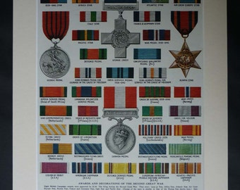 1940s Vintage Military Medals Print, Second World War Two Decor, Available Framed, WWII Art, George Cross, Burma Star, Canada Medal Ribbons