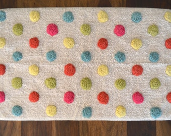 Cotton anti-slip bath mat, colorful dots bath rug, colorful mat, polka dot mat