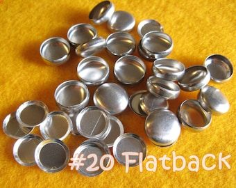 Sale - 100 Cover Buttons FLAT BACKS - 1/2 inch - Size 20  flat backs no loops covered buttons notion supplies diy refill