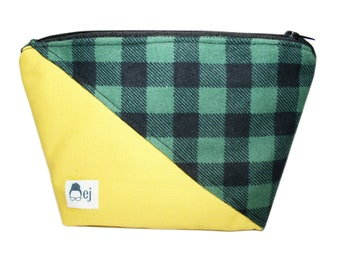 Cosmetic Bag - Yellow with Green Flannel