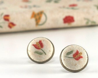 Flower Stud Earrings, Red Tulips, Earring Studs, Flowers Earrings, Fabric Covered Buttons, Bridal Jewelry, Antique Posts, Baltimore Album