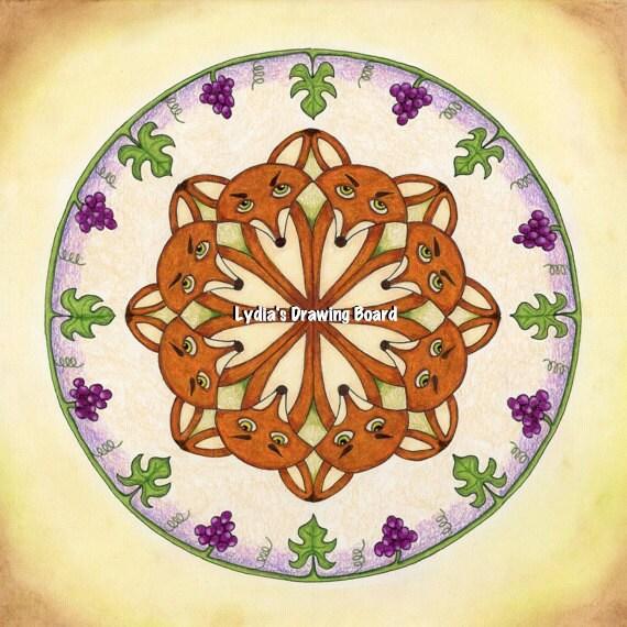 Fox, Fox Art, Fox Art Print, Aesop, Grapes, Grapevine, Mandala, Mandala Wall Art, Mandala Art, Woodland Animals, Woodland Creatures, Artwork