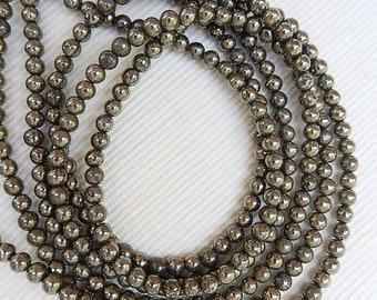 """4mm Pyrite round beads FULL STRAND (15.5"""")"""