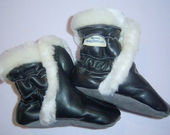 black lamb leather boots, toddler winter boots, baby winter boots, toddler booties