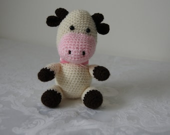 Darling crocheted little cow with pink satin neck tie by Liz