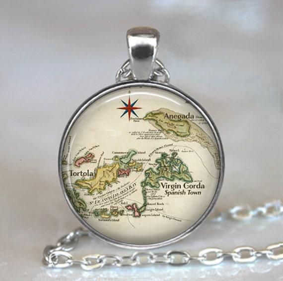 British Virgin Islands map necklace Anegada map Tortola map