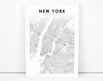 new york map print new york city nyc ny usa map art poster city street road map print nursery room wall office decor printable map
