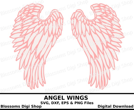 Angel wings svg cut file, digital download, svg wing, feathered ...