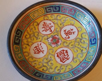 Japanese metal and porcelain tray, hand painted, has stamp on bottom